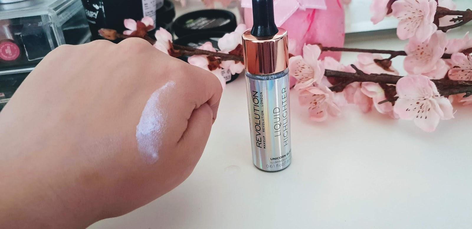 makeup revolution liquid highlighter unicorn elixir swatch