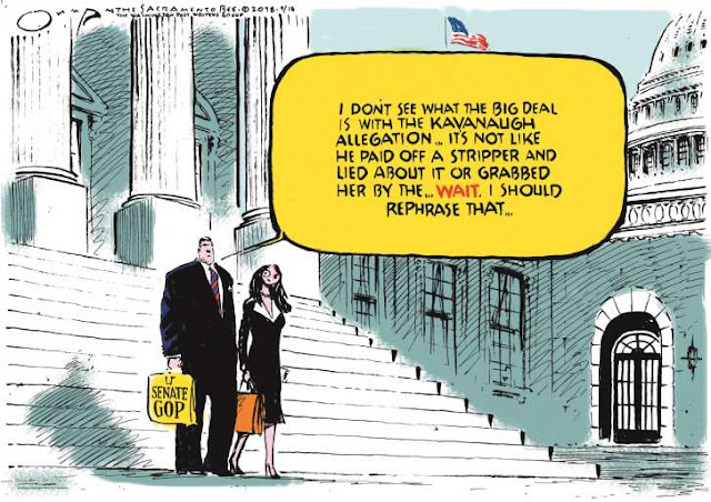 Male Senate GOP walking down the Capitol steps with a female aide saying,