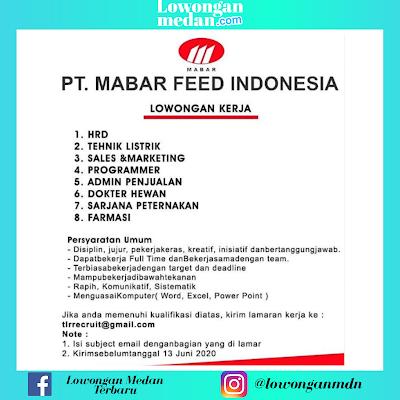 Informasi Loker Medan Terbaru di PT. Mabar Feed Indonesia Juni 2020