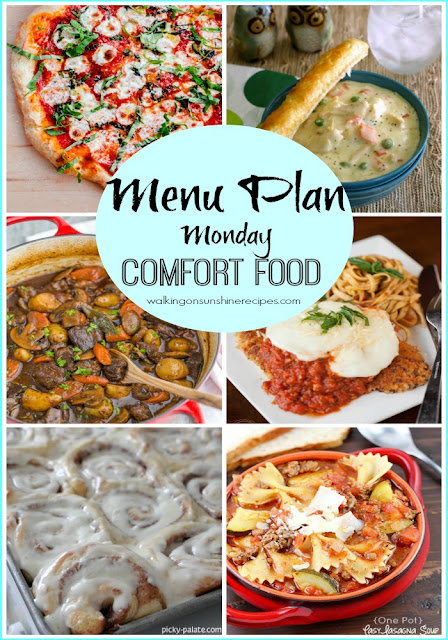 This week's Menu Plan Monday is all about comfort food.  Food that brings you comfort from the cold weather or when you just need that little something after a long hard day.