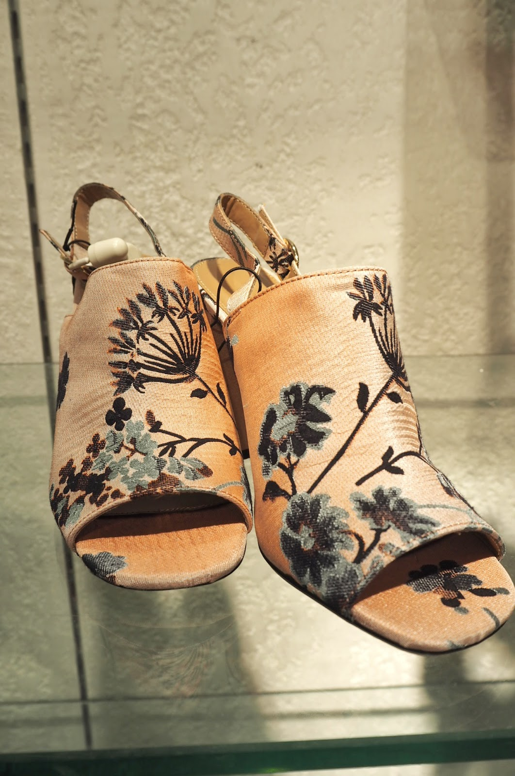 Topshop Floral Sling-back block heels