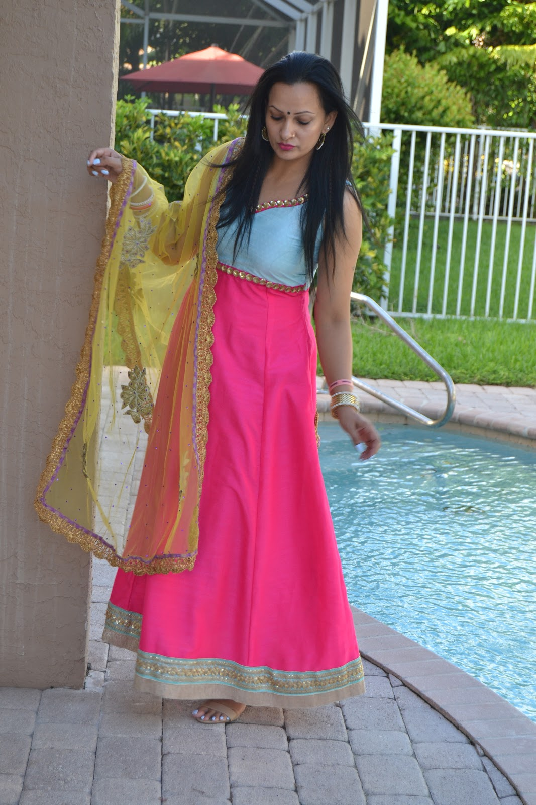 2e0789707bdbb I had this anarkali outfit custom made for me. I got it done in free size.  I wanted to do its alteration myself for some reason. I just came back from  India ...