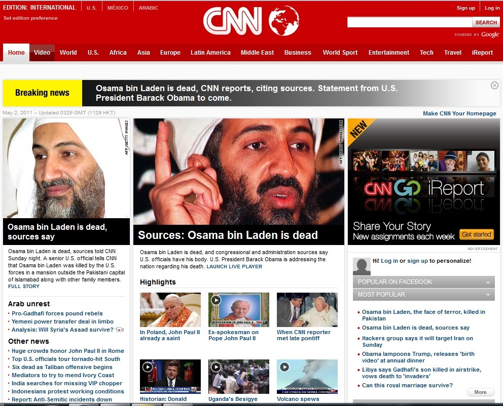CNN Observations: CNN Covers bin Laden Death