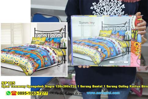 Sprei Tommony Spongebob Single 120x200xT20 1 Sarung Bantal 1 Sarung Guling Kartun Biru Kuning Anak Remaja