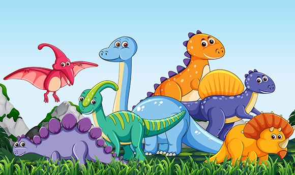 Grupo de Dinosáurios cartoon de cuento infantil y vivos colores
