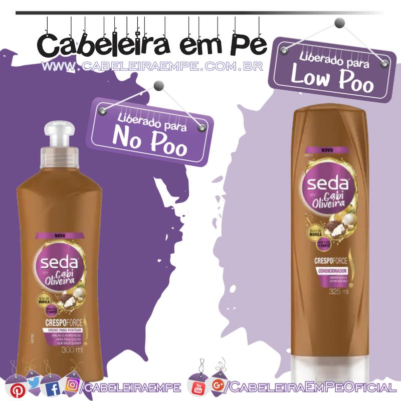 Condicionador (Low Poo) e Creme para Pentear (No Poo) Crespoforce by Gabi Oliveira - Seda