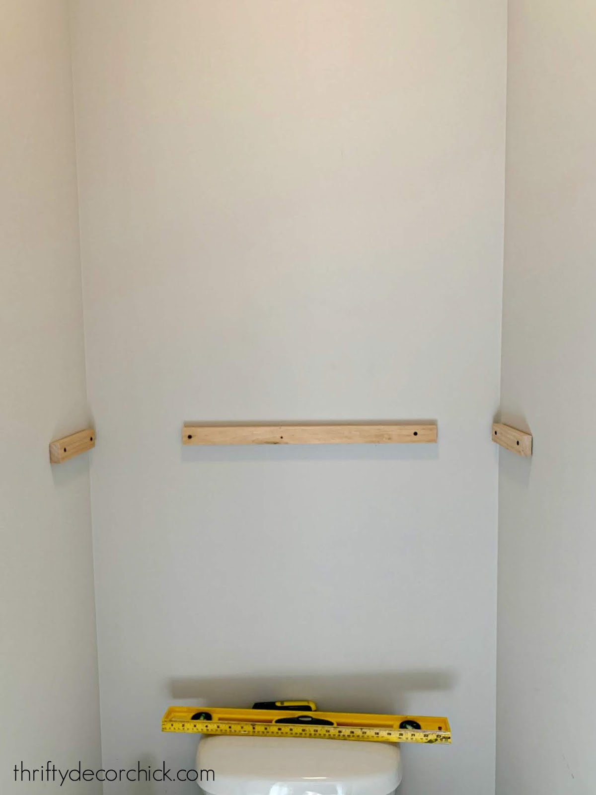 adding shelves in water closet