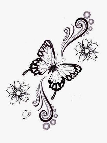 Butterfly and daisies tattoo stencil