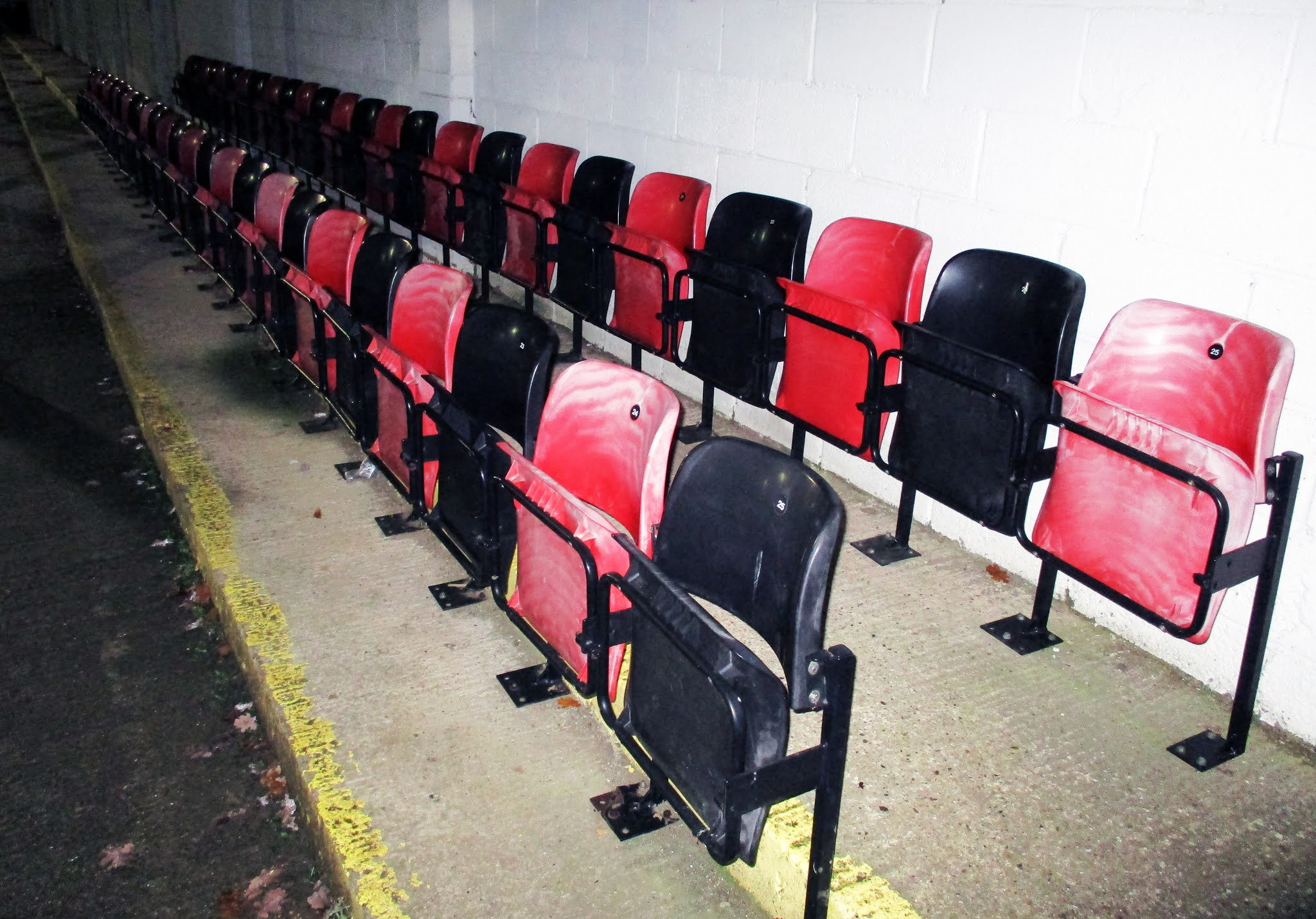 Red and black seats at The Rivermoor Stadium, Reading