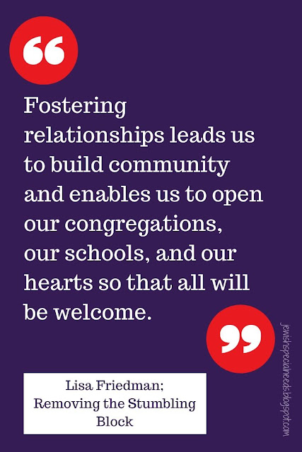 purple background with the words Fostering relationships leads us to build community and enables us to open our congregations, our schools and our hearts so that all will be welcome; Removing the Stumbling Block