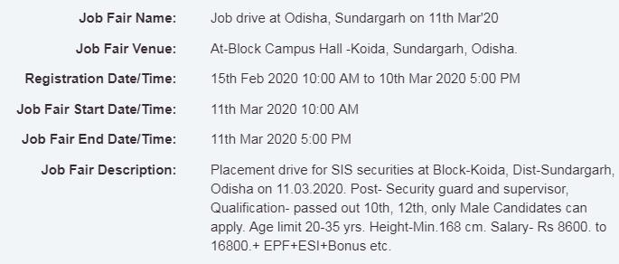 Job Drive At Odisha