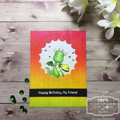 MFT magical dragons birthdaycard with arrow ends background stamp and peek a boo window