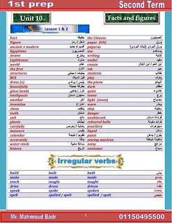 مذكرة اللغة الإنجليزية للصف الاول الاعدادي الترم الثاني منهج 2019 مستر محمود بدر