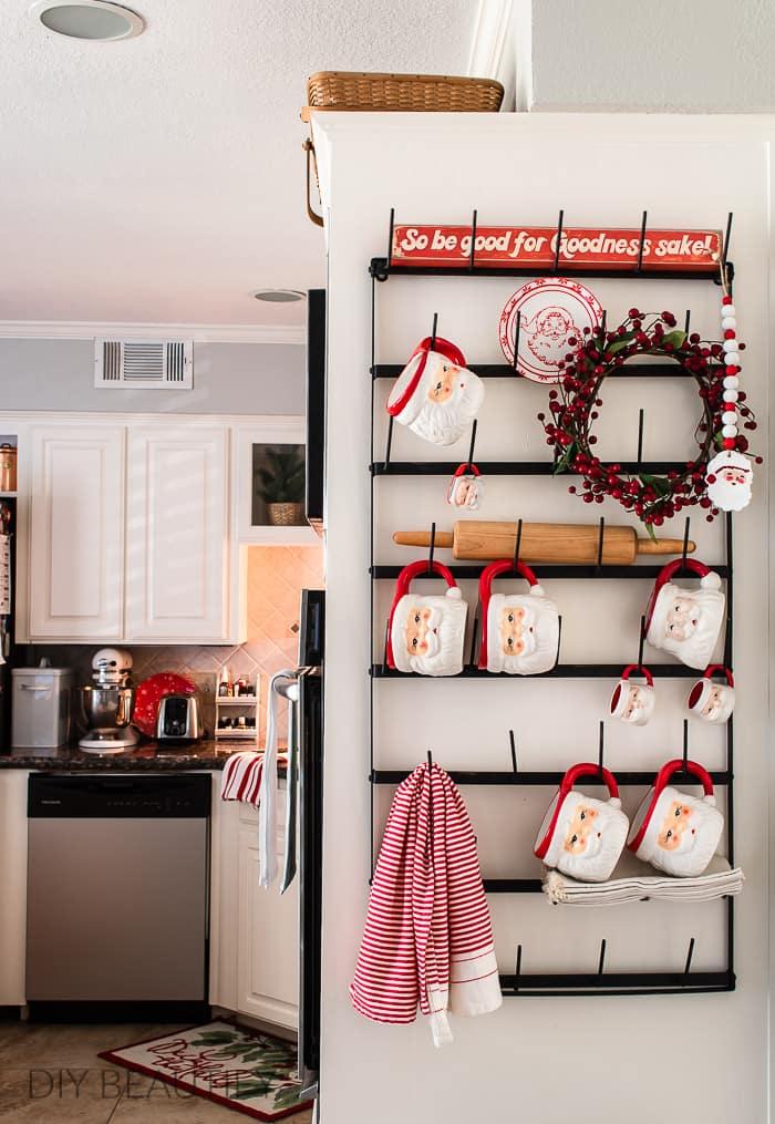 mug rack with Santa mug collection