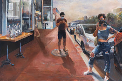 Cathy Abramson's oil painting titled Waiting for Takeout (to go