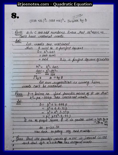 Quadratic Equation Notes-Maths8