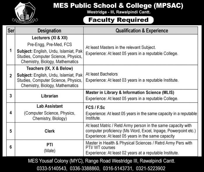 Jobs in MES Public School And College Jobs March 2019