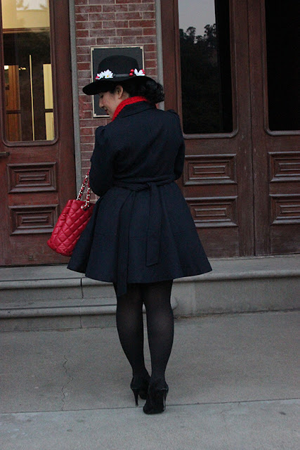 Navy Coat and DIY Hat Mary Poppins Disneybound Halloween Costume | Will Bake for Shoes