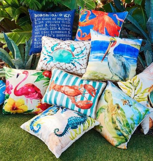 Outdoor coastal beach & nautical pillows colorful designs