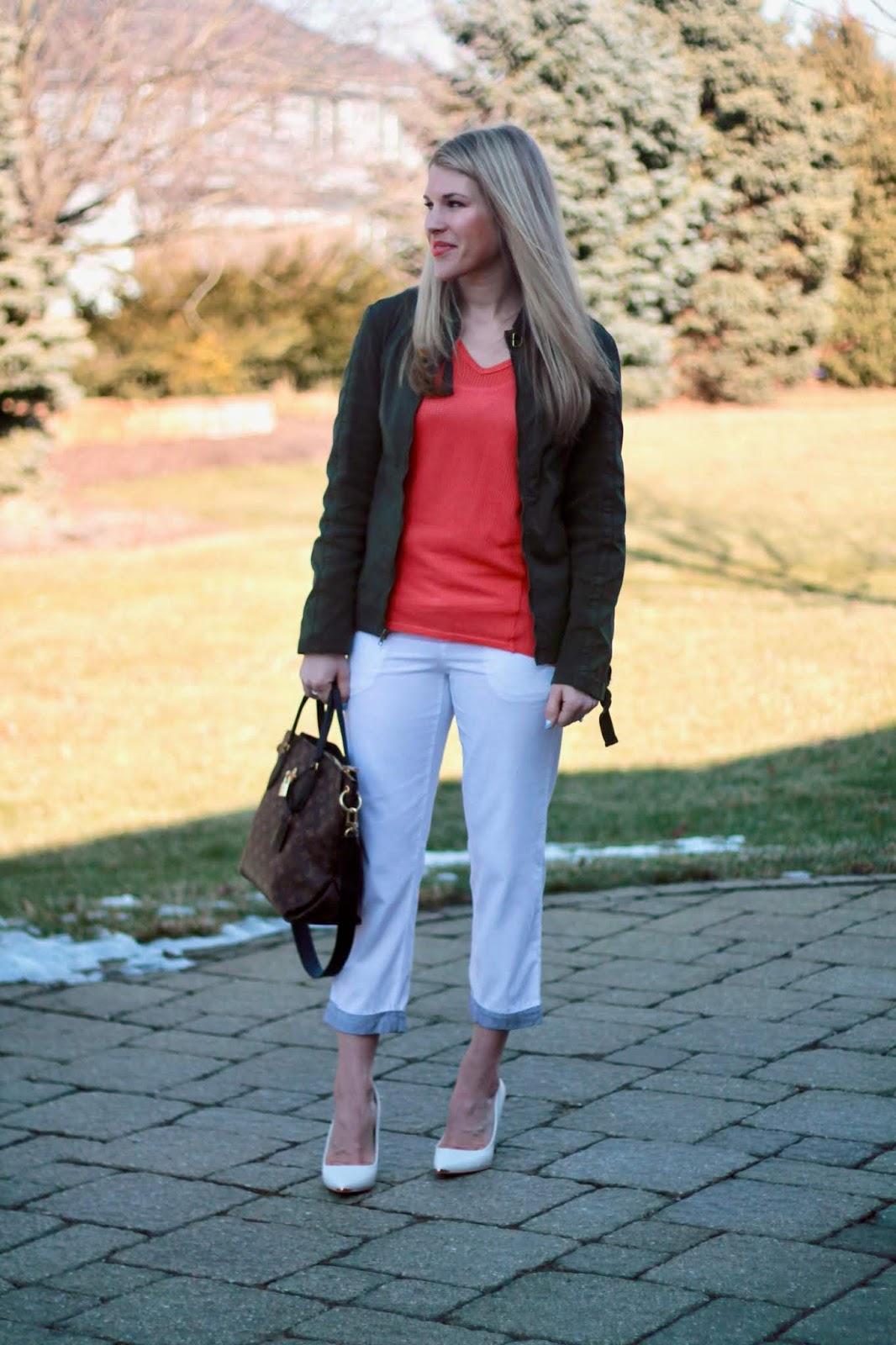 XCVI spring review, white capri pants, white heels, LV flowered tote, orange sweater, olive jacket