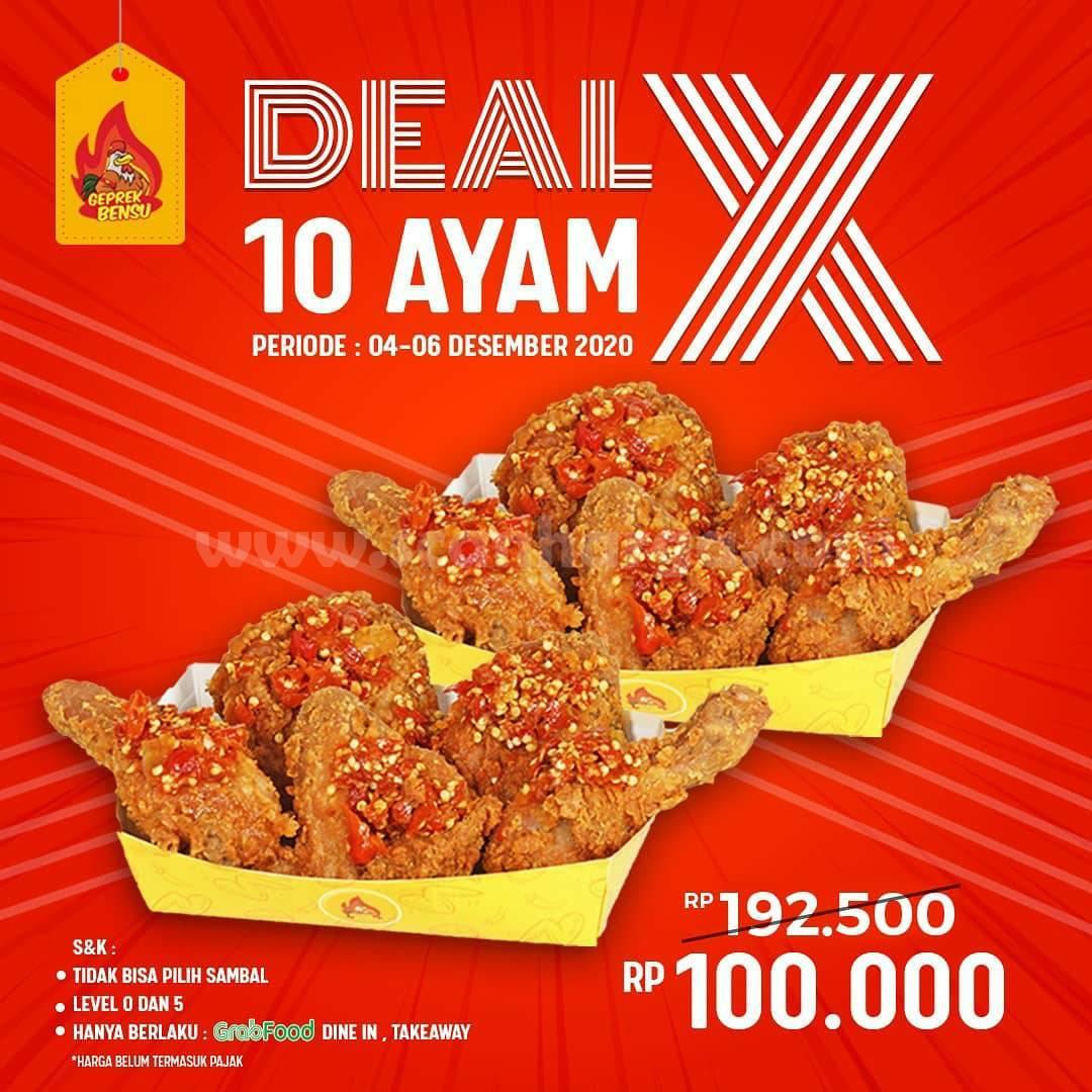 Promo Geprek Bensu Weekend Deal - Paket 10 Ayam cuma Rp. 100.000