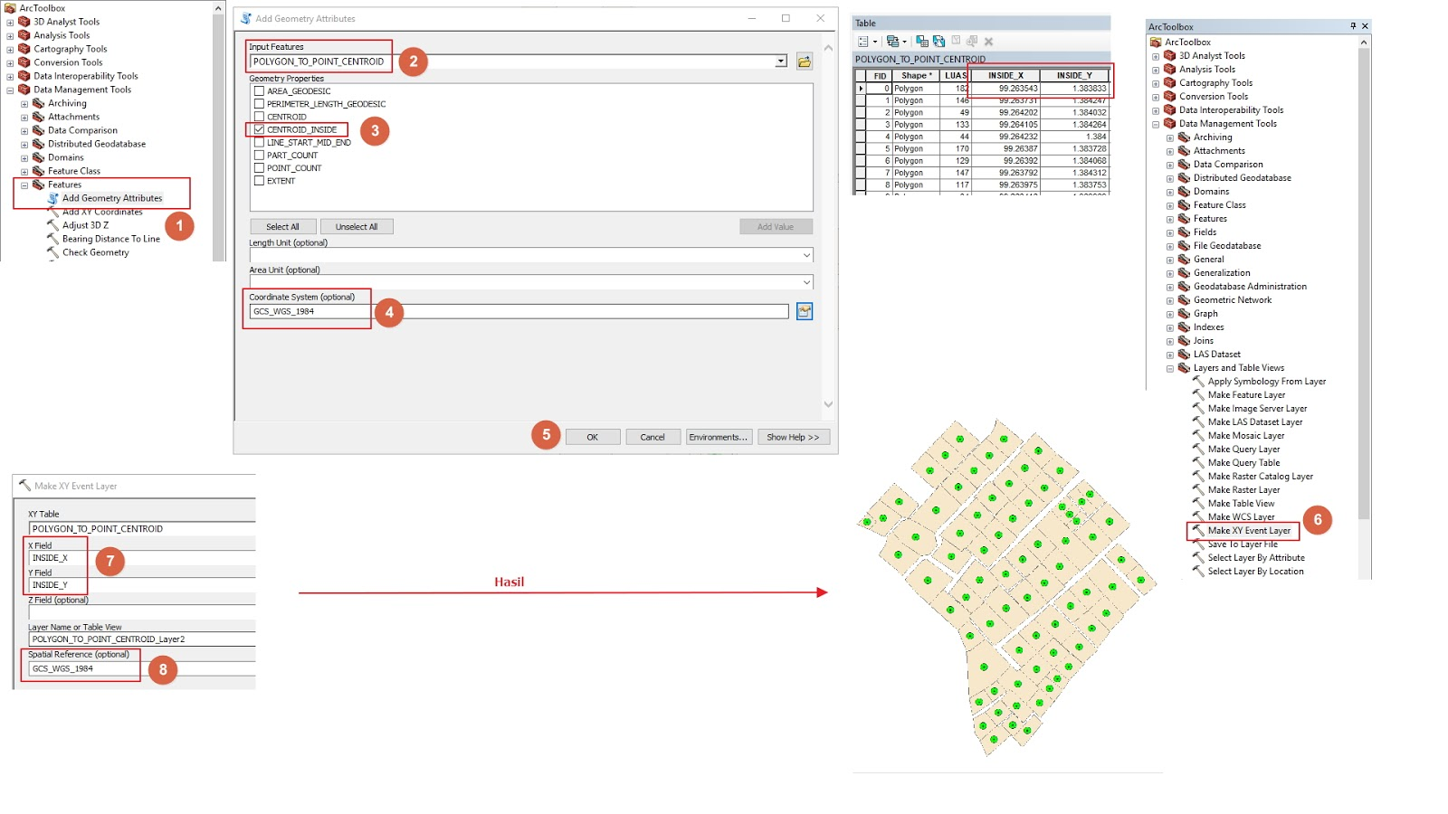 Konversi Fitur Polygon ke Point (Titik Tengah) pada ArcGIS