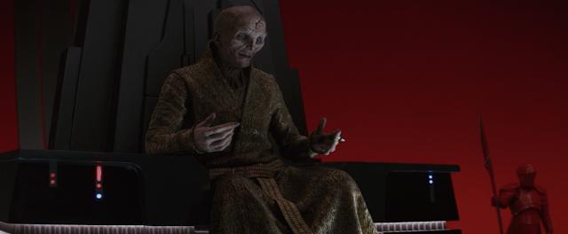 Supreme Leader Snoke On First Order Throne Star Wars The Last Jedi