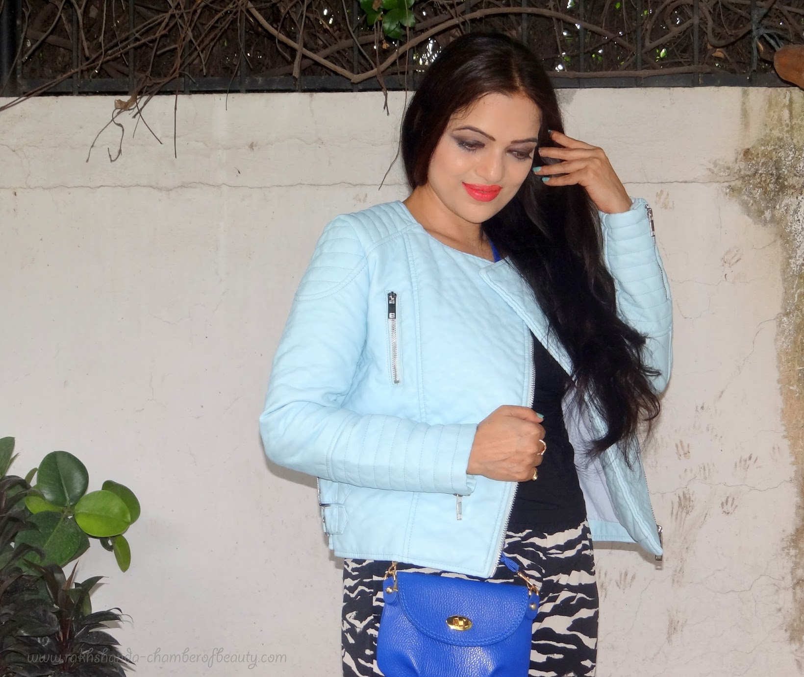 Comfortably Casual-OOTD   Styling a leather jacket, Pastel blue leather jacket, Stylemoi leather jacket, fashion trend, Indian fashion Blogger, Chamber of Beauty