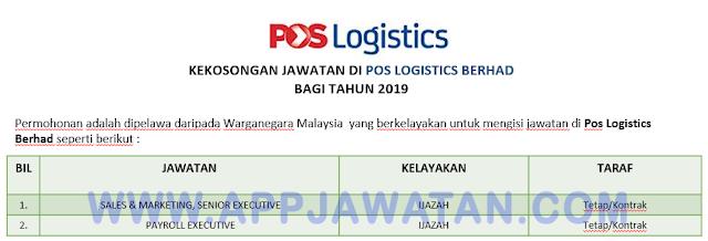 Pos Logistics Berhad.