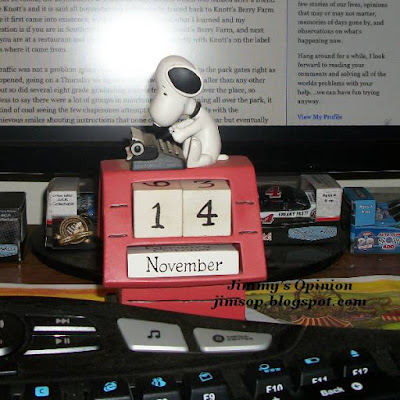 Snoopy reusable calendar sitting between keybord and monitor on desk, calendar date November 14