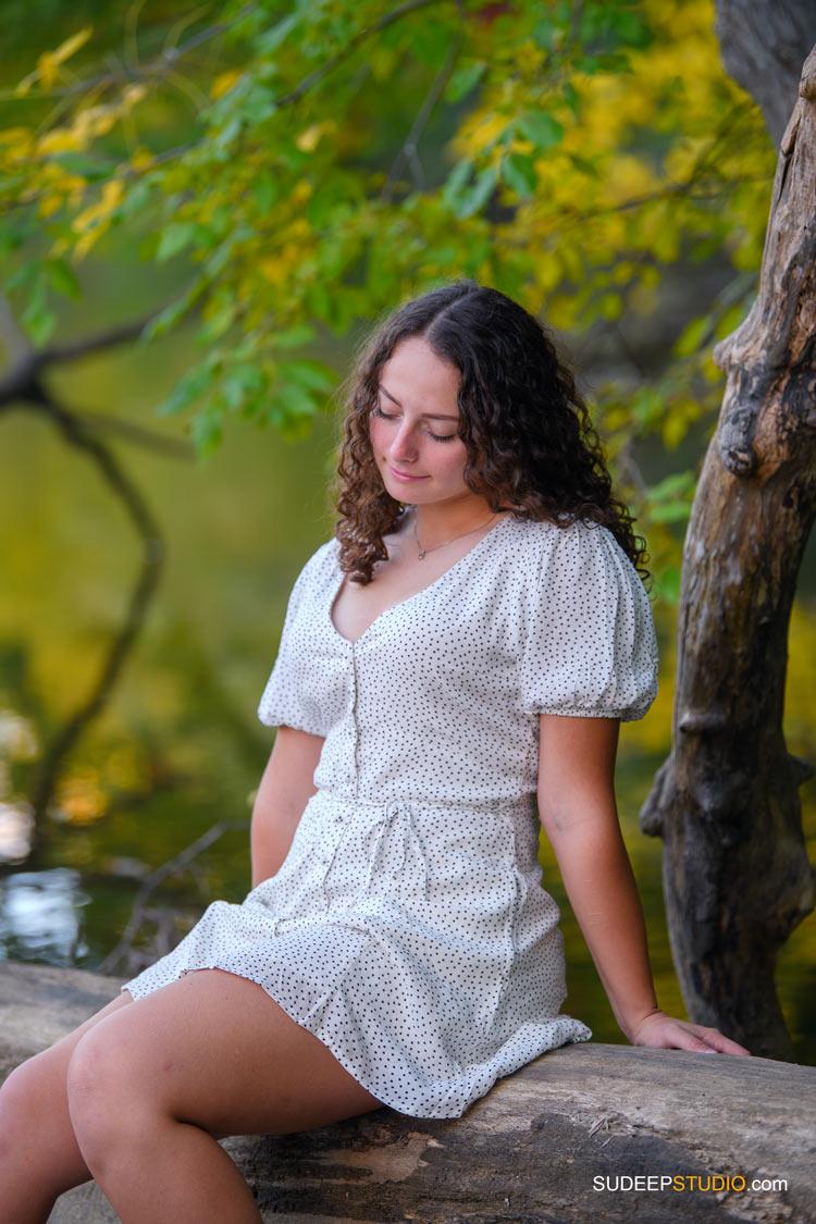 Pioneer High School Girls Senior Portrait in Nature Fall Colors by SudeepStudio.com Ann Arbor Senior Pictures Photographer