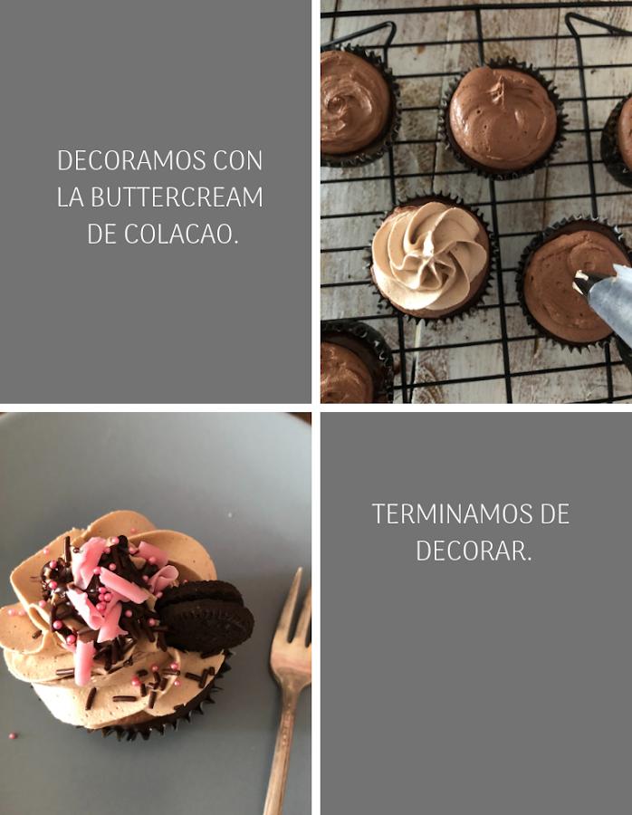Preparación cupcakes cheesecake de chocolate y oreo