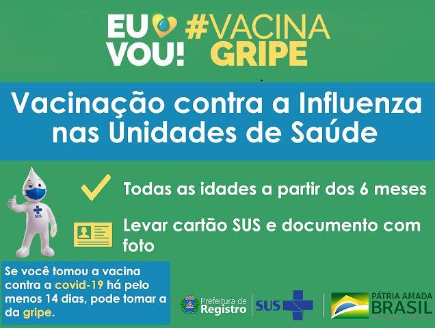 Prefeitura de Registro-SP libera vacinação contra Influenza para toda população a partir de segunda-feira 12/7