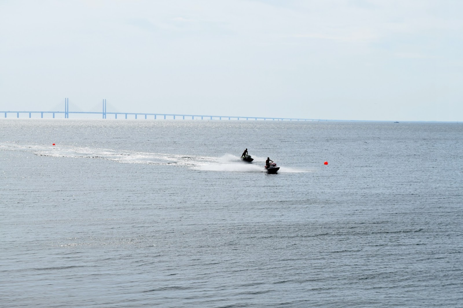 jet skiing over the Oresund in Malmo Sweden
