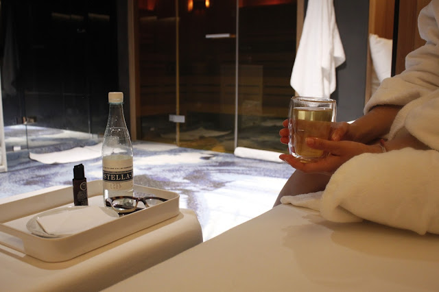 Inside the Andaz Amsterdam Spa - the sauna and showers in the background