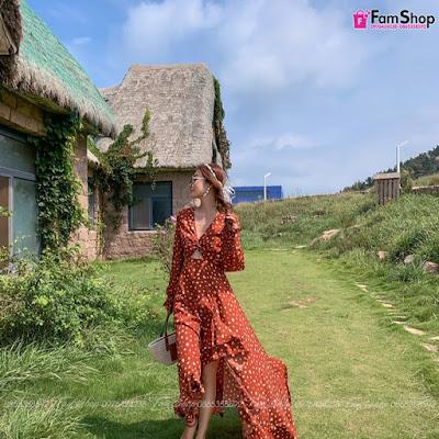 Váy maxi đi biển V730