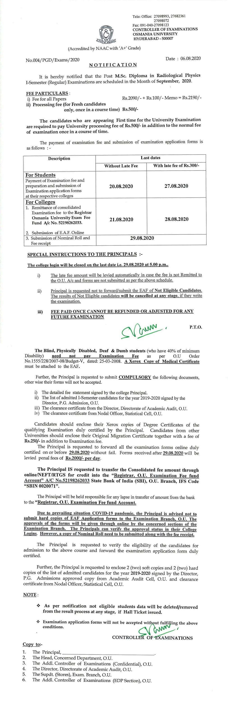 Osmania University M.Sc Diploma in Radiological Physics 1st Sem Sep 2020 Exam Fee Notification
