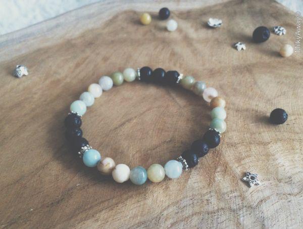 Bracelet pierres de lave et perles d'amazonite My Roller Stone