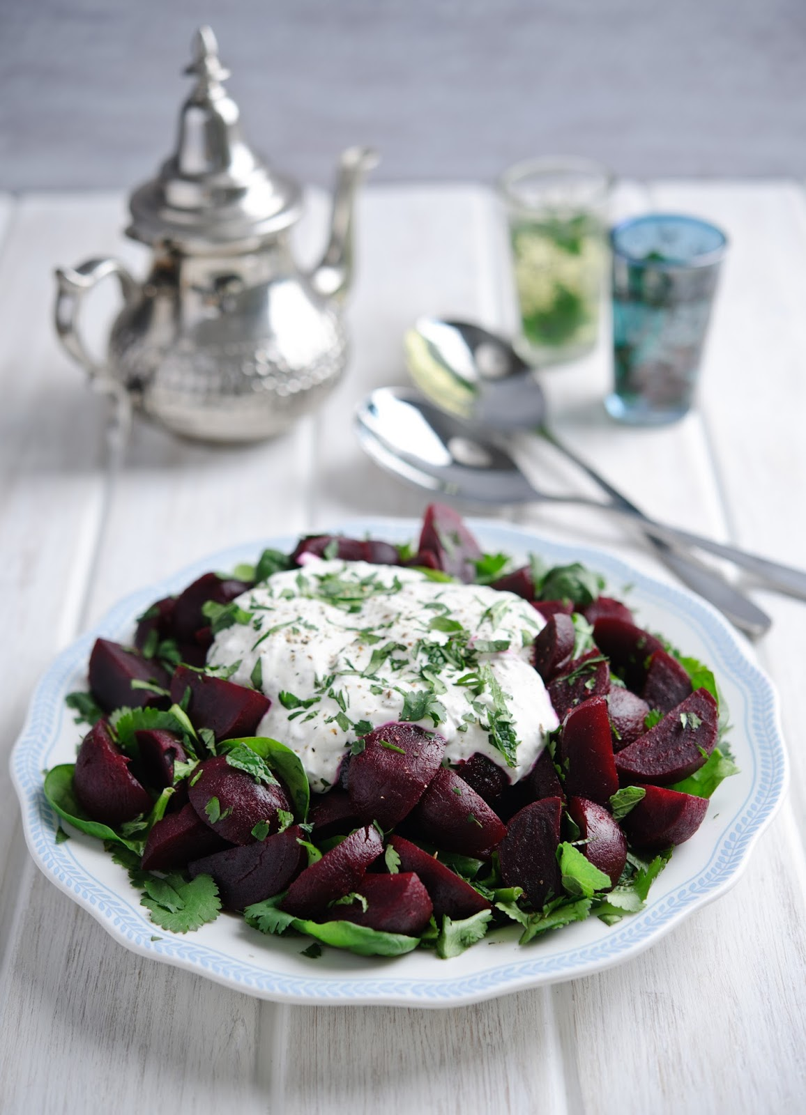 moroccan beetroot herb salad with yogurt dressing