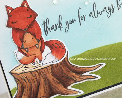 This super cute thank you card was created using the Picket Fence Studios Stand in the Sunshine stamp and dies.