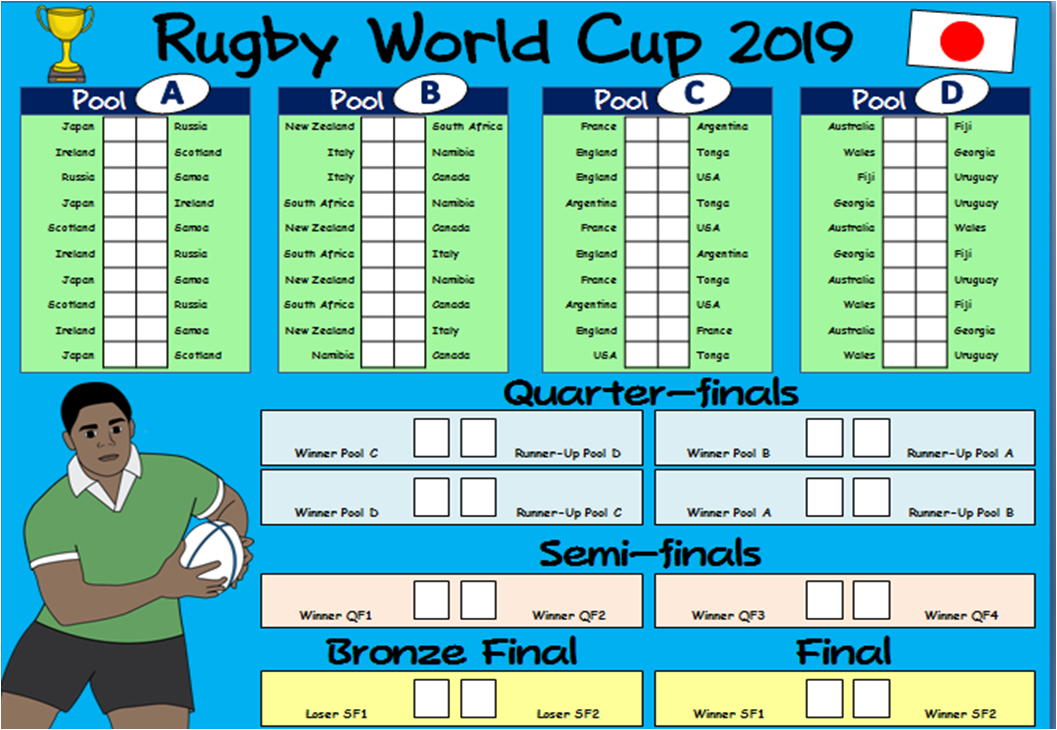 It is a graphic of Hilaire Rugby World Cup Schedule Printable