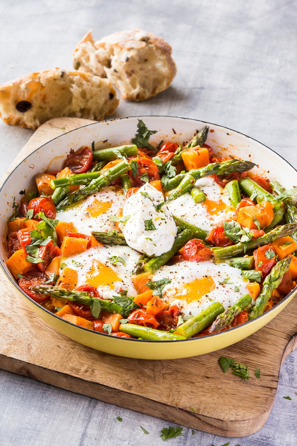 Asparagus, Sweet Potato And Tomato Shakshouka
