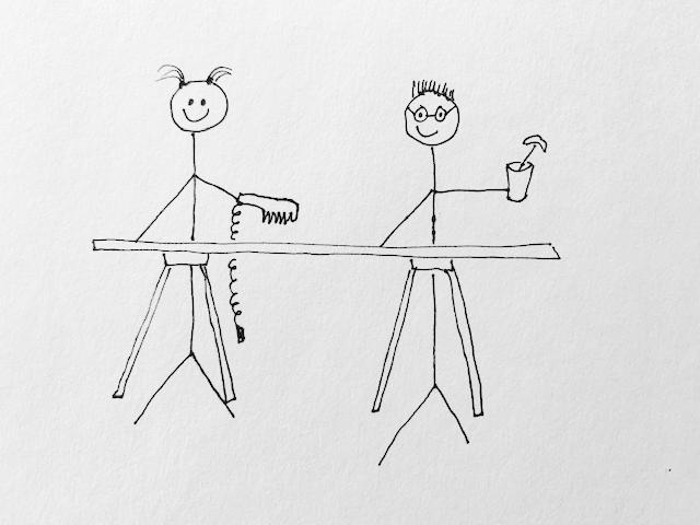 stick figure drawing of cutting wood