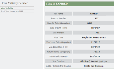 EXIT RE ENTRY VISA STATUS ONLINE