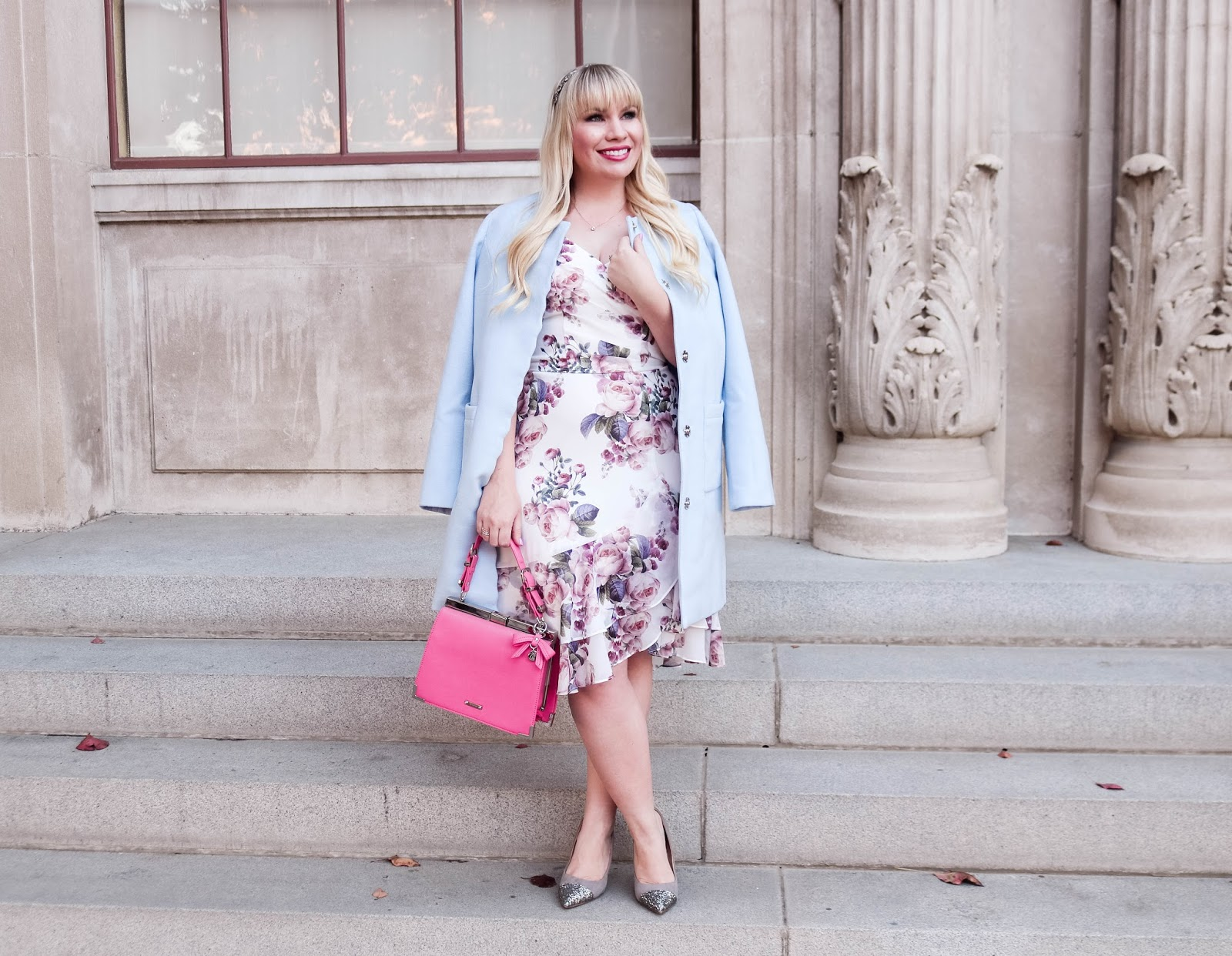 Floral Dress with Light Blue Coat for Winter