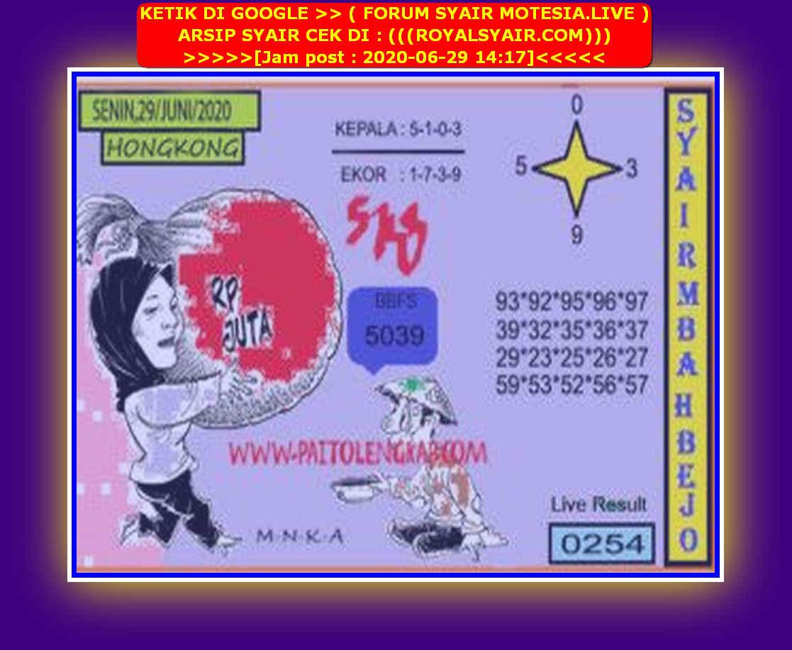 Kode syair Hongkong Senin 29 Juni 2020 161