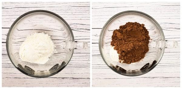 Making a chocolate brownie mug cake - step 1 - flour and cocoa powder