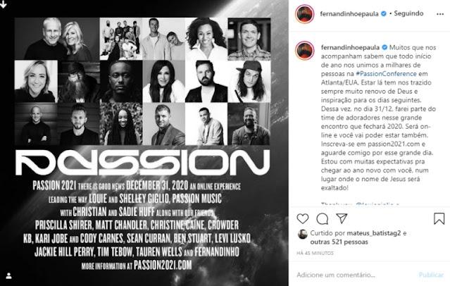 Fernandinho participará da Passion Conference, nos EUA