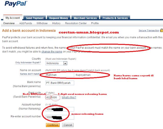 Cara Withdrawal Paypal ke Rekening BRISyariah itu mudah brow