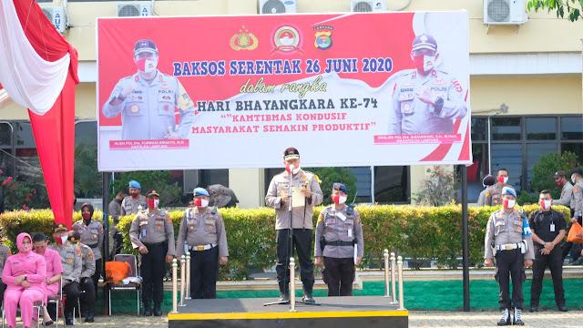 Kapolda Lampung Pimpin  Baksos Serentak se Polda Lampung dan Polres Jajaran, Sambut Hari Bhayangkara Ke 74